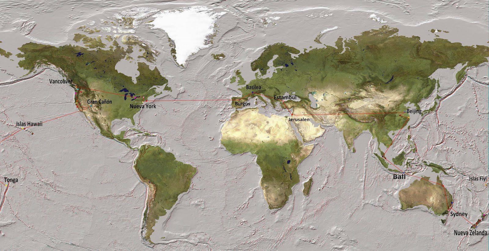 Al este por el oeste mapa rtw