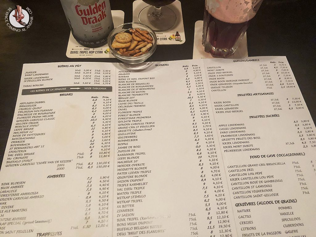 Cervecerias de Bruselas Poechenellekelder menu