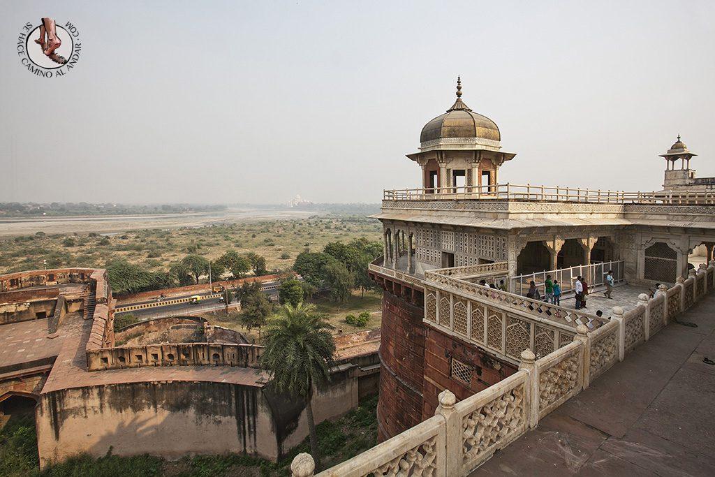 Fuerte Rojo Agra vistas Taj Mahal