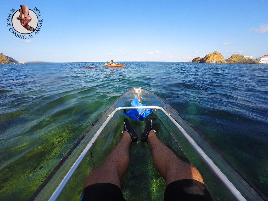 Kayak transparente en Menorca
