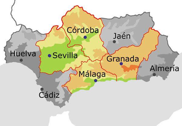 Sevilla, Córdoba, Granada y Málaga