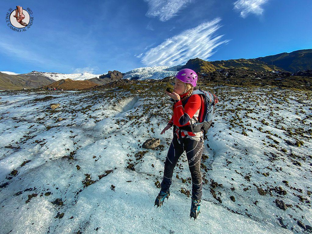 Trekking-glaciar-Falljokull-piedra-musgo-beso