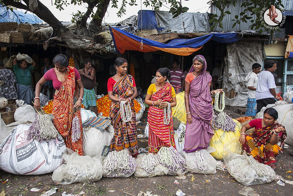 Vendedoras mercado de las flores Calcuta