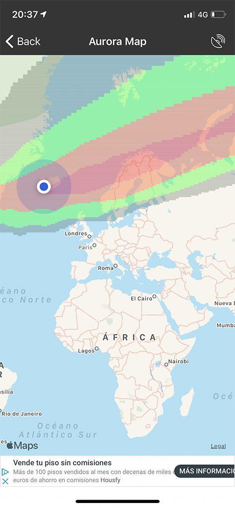 aurora boreal aplicacion mapa colores rojo