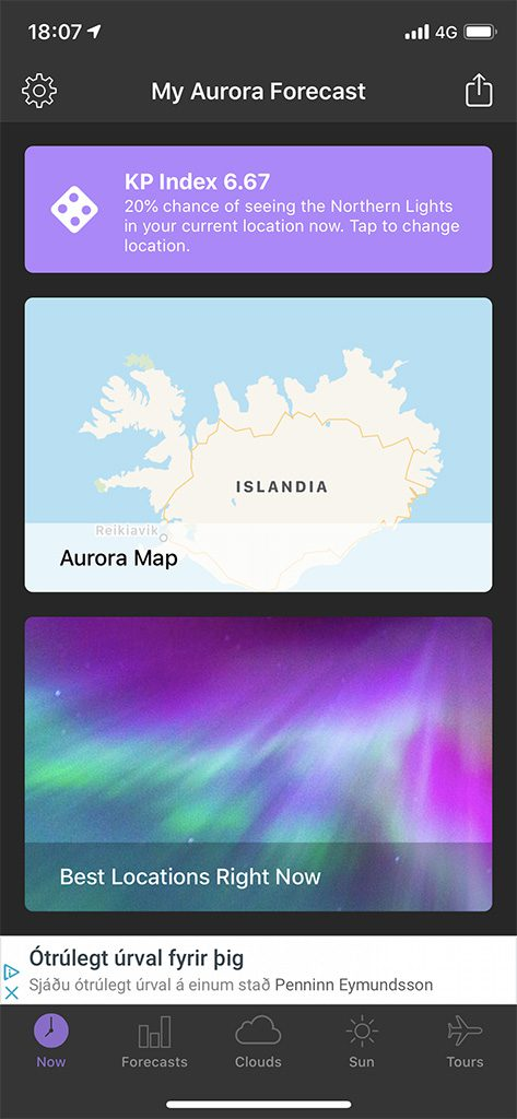 aurora boreal aplicacion mapa home