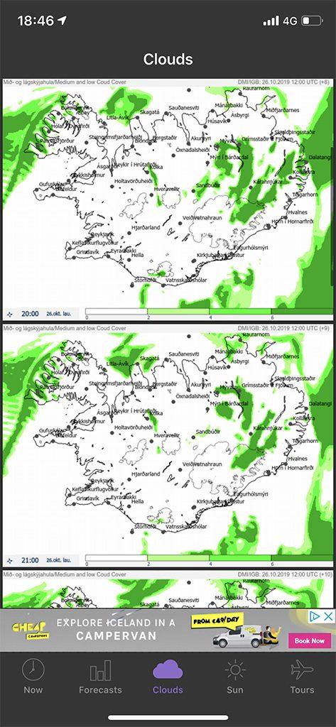 aurora boreal aplicacion mapa nubes