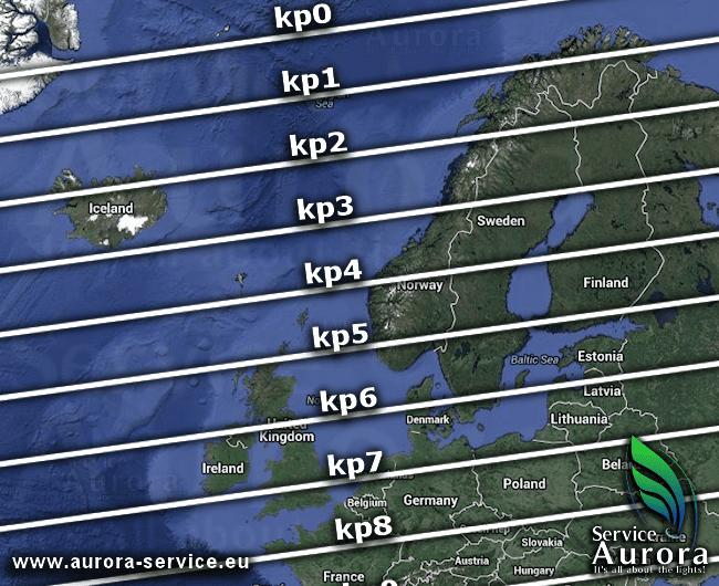 aurora boreal mapa kp