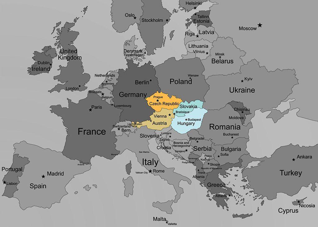 mapa-praga-viena-budapest-bratislava