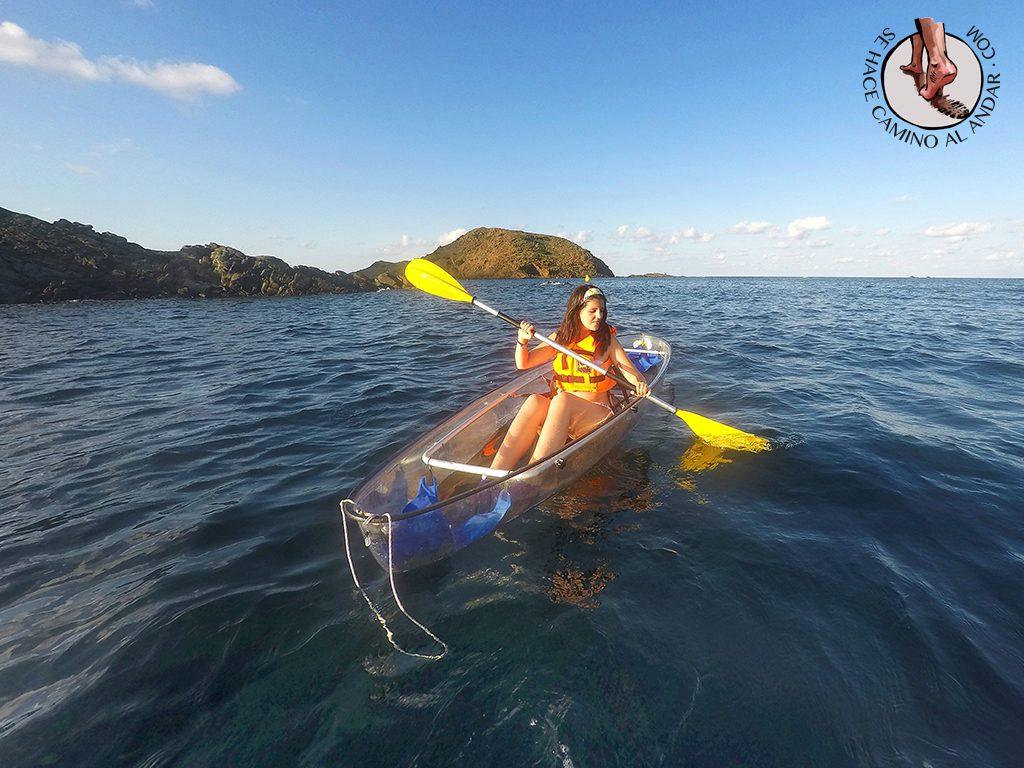paseo kayak transparente menorca