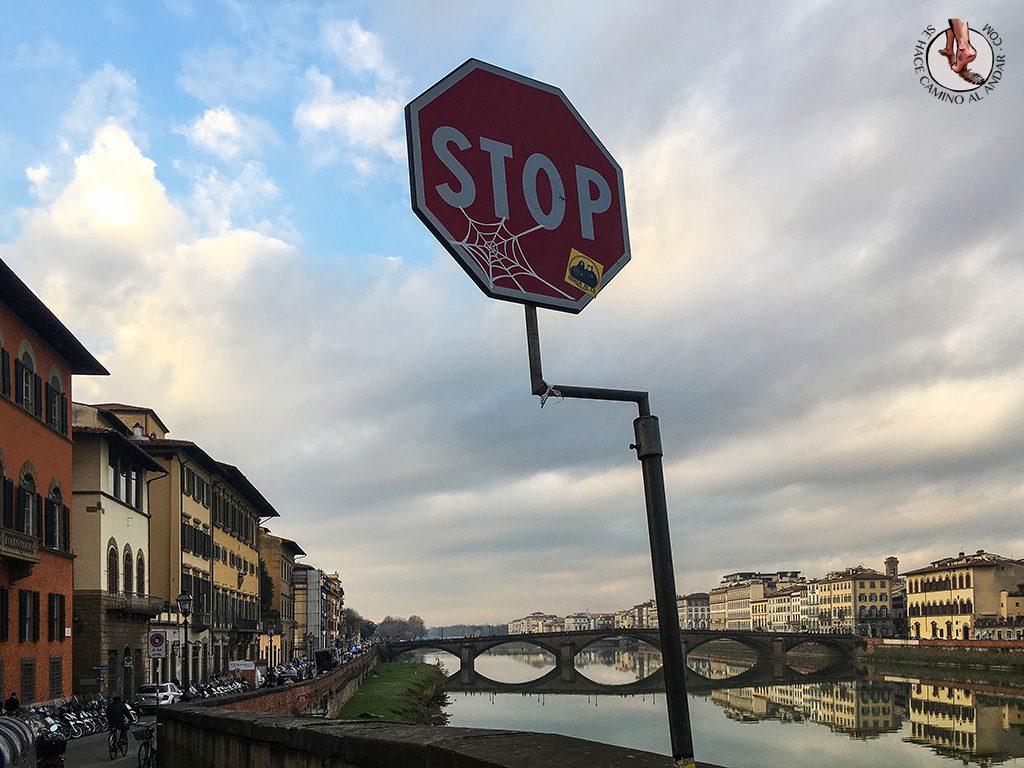 señal stop telarana