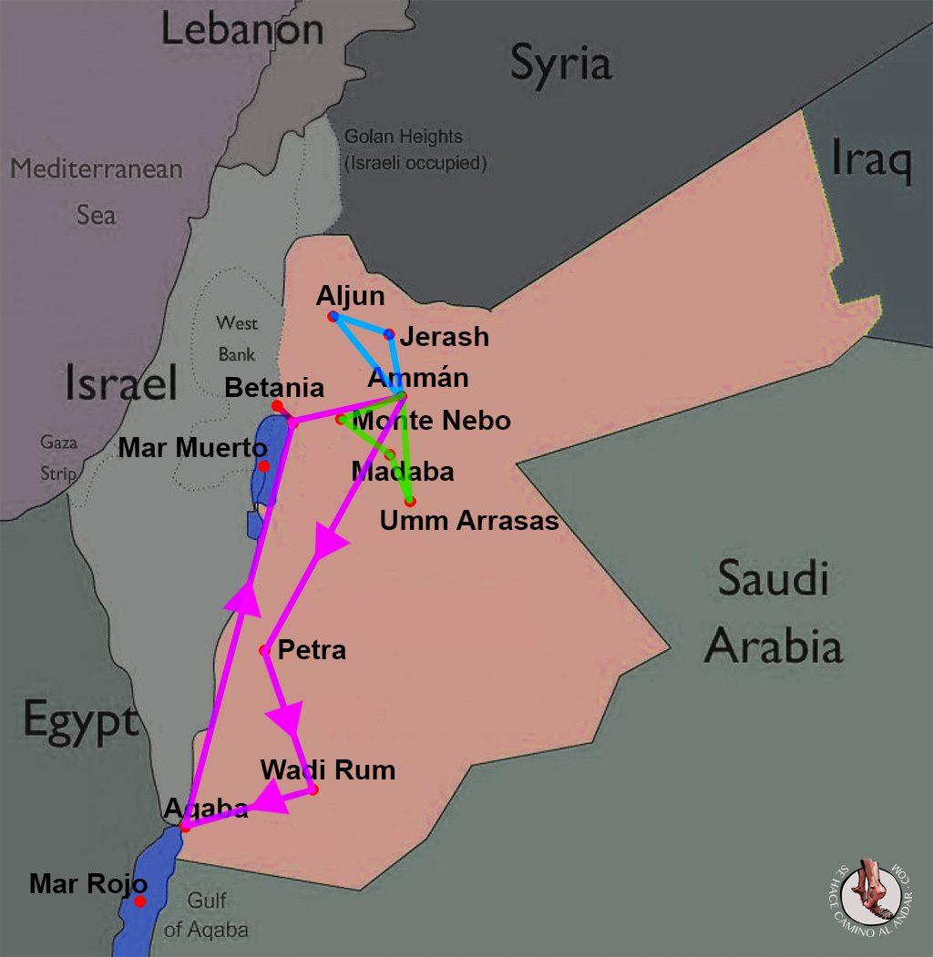viaje a jordania mapa