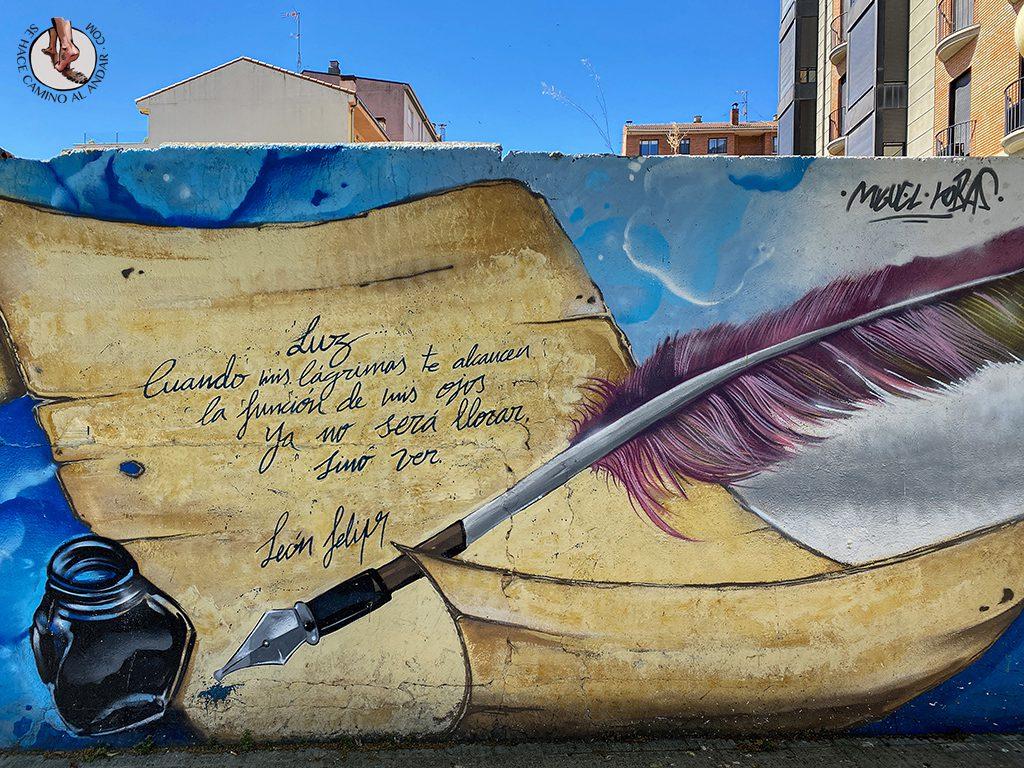 Arte urbano Zamora mural leon felipe manuscrito