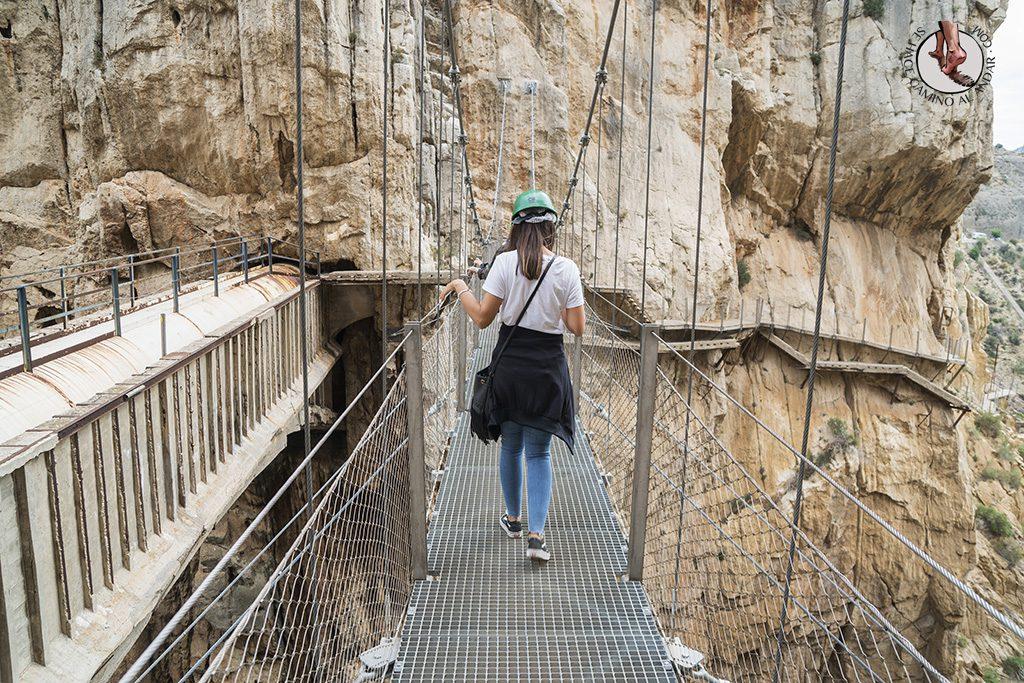 Caminito del Rey cruzar puente colgante