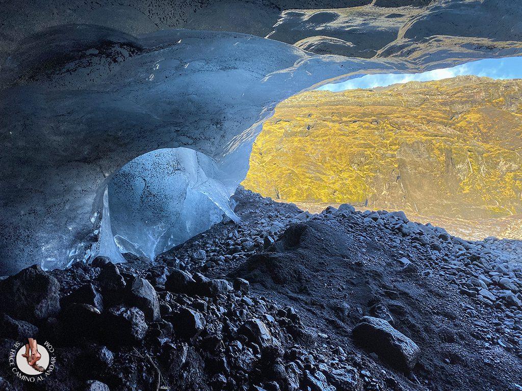 Cueva hielo Virkisjokull Islandia salida