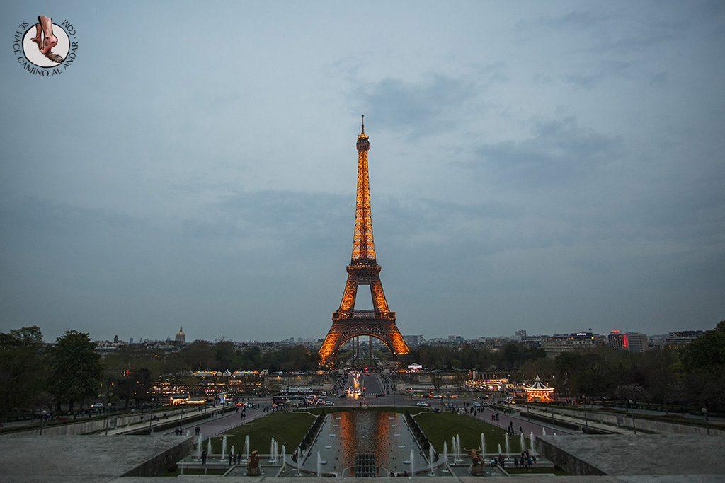 Miradores de Paris Jardines Trocadero atardecer