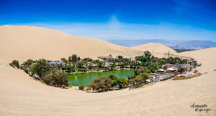 Oasis of Huacachina near Ica city in Peru