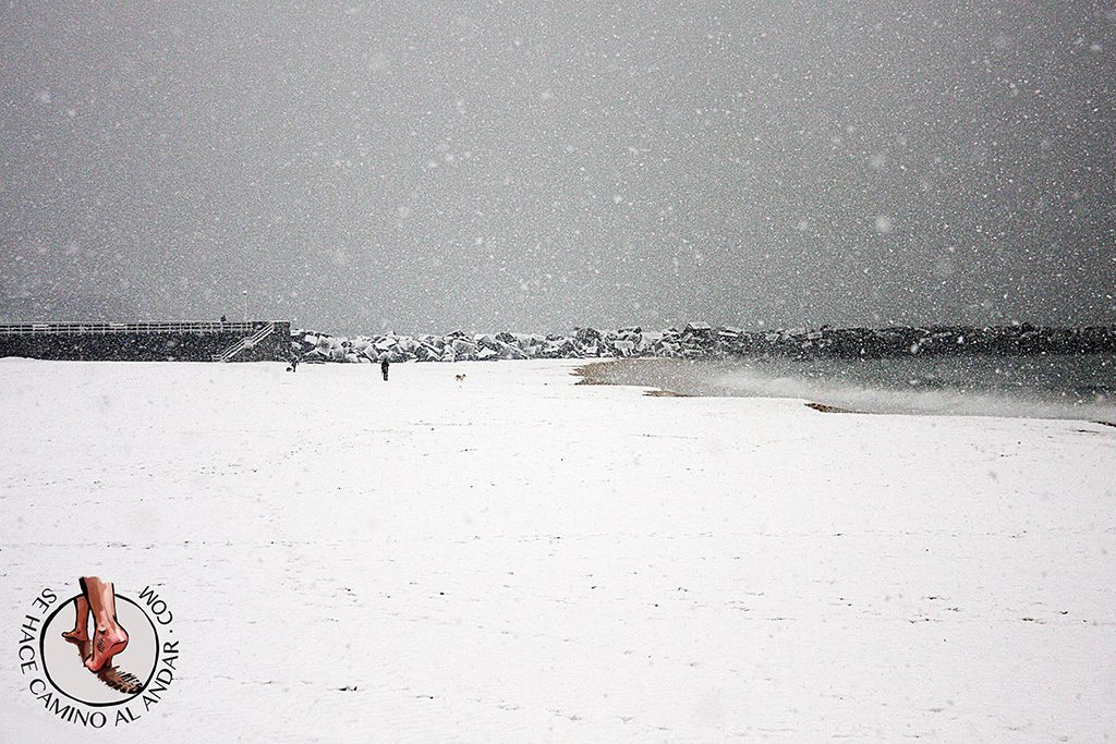 Playa Zurriola nevando