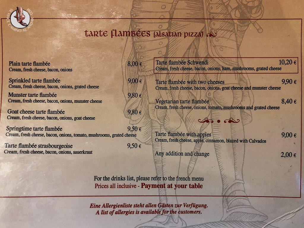 Restaurantes de Colmar Brasserie Schwendi menu tarte flambees