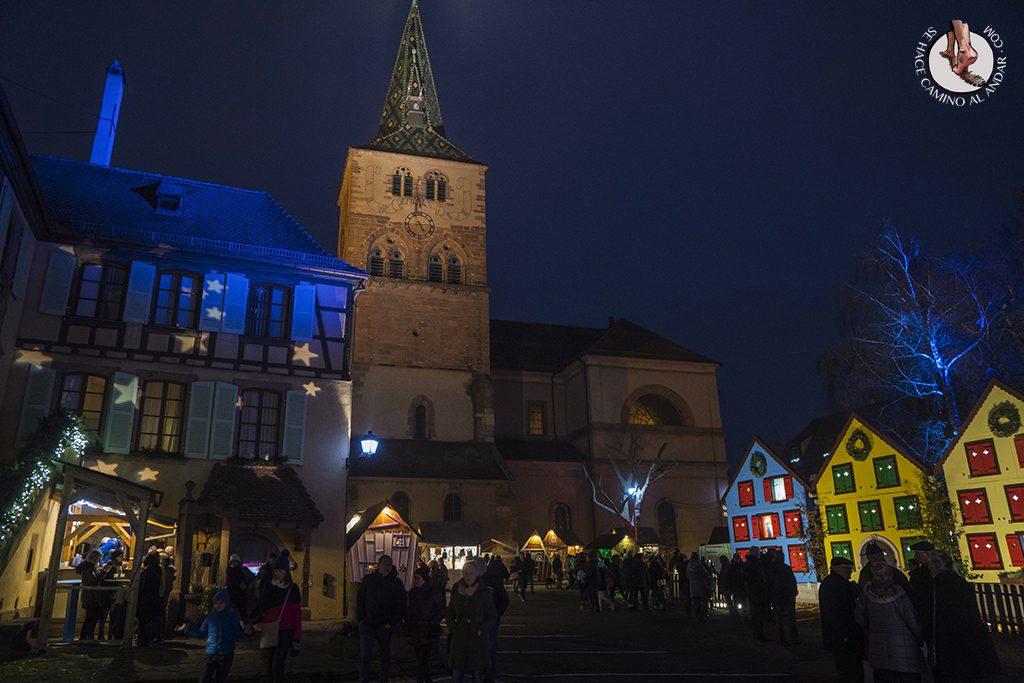 Turckheim iglesia casas adviento noche