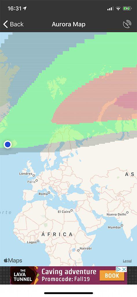 aurora boreal aplicacion mapa colores verde