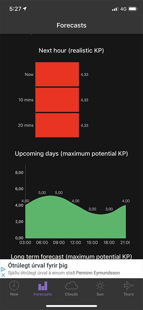 aurora boreal aplicacion prevision KP