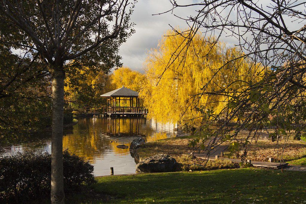Estanque y quiosco del Parque de Yamaguchi. Pamplona.